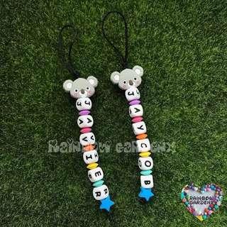 Handmade Customized Mini bag chain / bag charm / Koala Rainbow keychain with letter beads