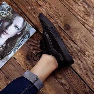 all black vans old skool sneakers / shoes