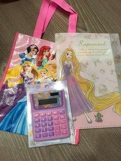 ⏰出清含運~日本帶回 迪士尼公主 手提袋/長髮公主計算機、五層資料夾🈴️售