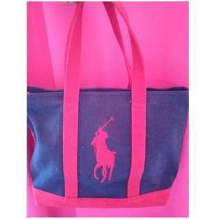 Authentic RALPH LAUREN Red/Navy Canvas Tote Bag