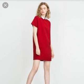 Zara Collar Red Dress
