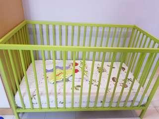 Ikea Somnat baby cot plus 3 set Ikea bedsheets/quilt cover