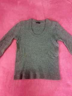 Gray ls knitted top