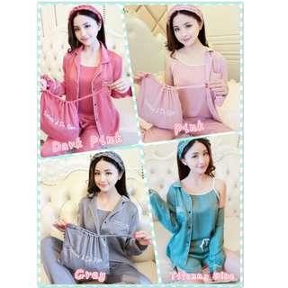 Muimui [ Ready Stock ] Woman Set Of 7 Pc Suit Singlet Pant With 4 Colours MS1083