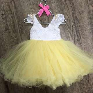 Ellies handmade from Australia yellow tulle tutu dress for 9-12m