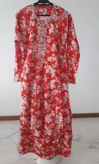 Red Baju Kurung. Cotton with beadings.