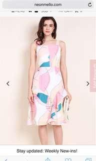 Neonmello ethereal waterfloral midi dress