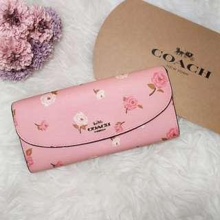 Coach Slim Envelope Wallet Tossed Peony 粉紅牡丹長銀包