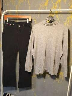 Tommy jeans and grey turtleneck