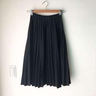 🚚 黑色毛呢百摺裙#半價衣服市集