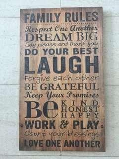 Rustic wall sign - Family Rules