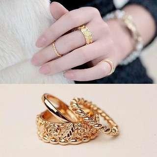 Gold korean fashion ring jewelry 3 pcs