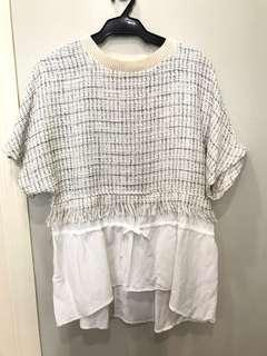 Zara Off White Tweed Top