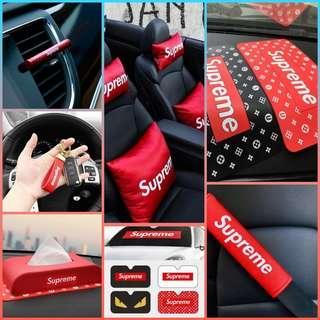 Supreme Car Accessories / Supreme Neck Rest / Supreme Cushion / Supreme Pillow / Supreme Tissue Box / Supreme Anti Slip Mat / Supreme Seatbelt Cover / Supreme Perfume / Supreme Sunshade