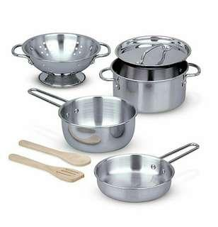🚚 Melissa & Doug 8-Piece Stainless Steel Pots and Pans Set Pots and Pans Set 1 Multi