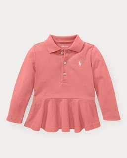全新 Ralph Lauren Cotton Mesh Peplum長袖女幼兒 Polo Shirt (Dolce Pink) 24M