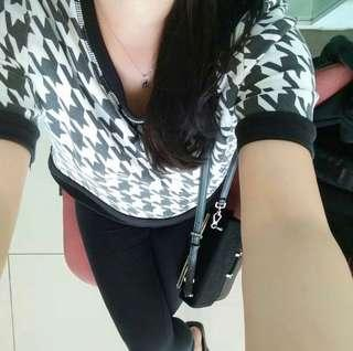 Zara black and white top