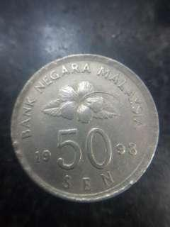 50 sen 1998 Duit Syiling Lama