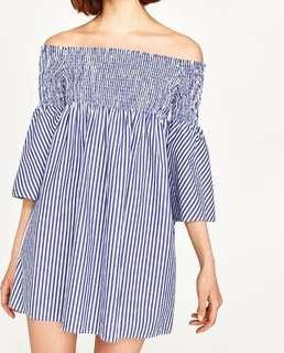 Zara Blue Stripes Off Shoulder Dress