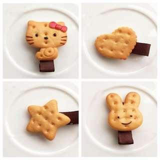 Kids Biscuits Cute Hair Clips 4pcs Set