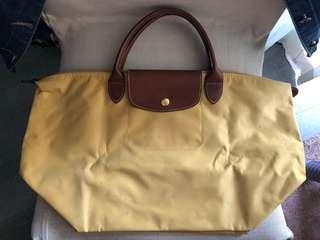 Longchamp Bag long champ handbag yellow 泥黃色手挽袋 手袋中號