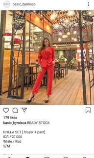 Basic by Misca set top and pants red