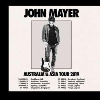 2x CAT 4 PHYSICAL TICKETS John Mayer 2019 Singapore