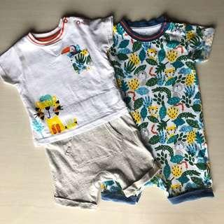 Mothercare 2 pcs romper white safari