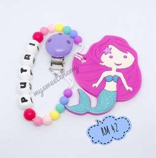 Personalised Baby Teether Pacifier Chain Clip 01