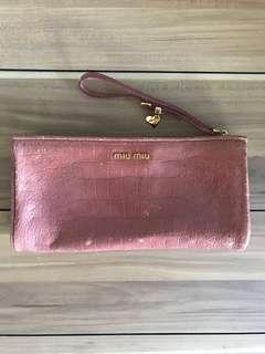🚚 miu miu wallet authentic wristlet clutch bag dustbag paper bag receipt leather strap long nude pink pouch vintage crocodile for women branded ladies luxury for girls