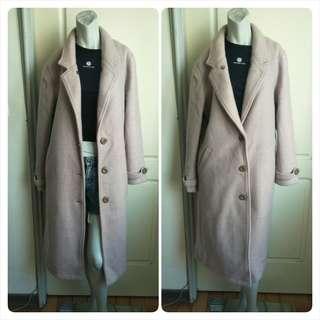 🚚 【onsale】Dois Queen淡藕紫色毛呢長大衣外套