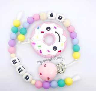 Pastel Unicorn Personalised Pacifier Clip