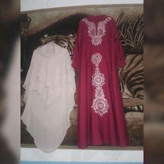 Gamis set hijab bordir hrga net