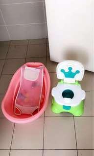 Baby Bath Tub and baby potty