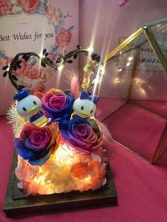 🚚 Enchanted Rose Dome with Donald/Daisy Duck figurine