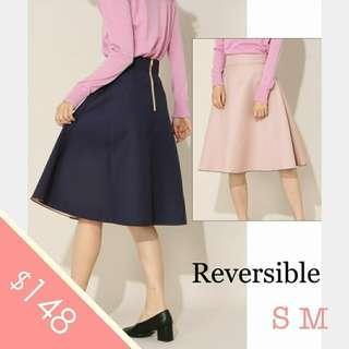 超抵!雙面!日本Bliss Point (細碼) 中碼 大碼 寶藍色 粉紅 中長 半截裙 過膝 返工裙 skirt