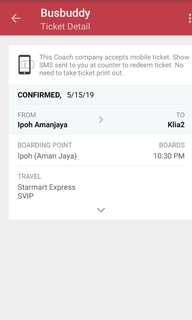 Bus Ticket From Ipoh To KLIA2 (15/5/19)