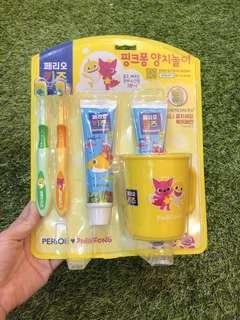 Pink Fong toothbrush and toothpaste set