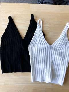 2 x black and white cropped singlet, ribbed