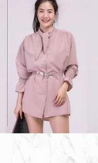 Brown dusty pink top long sleeve oversized with belt