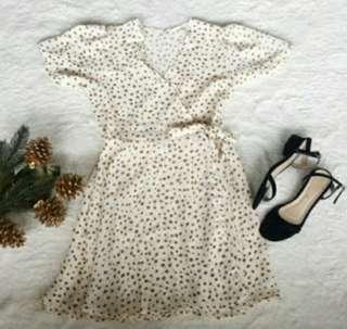 cream polka dor wrap around dress