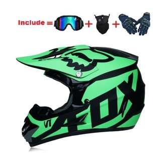 Matte Green Fox Full Face Off Road Helmet Size XL Only