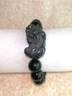 🚚 (24% Off) Natural Rainbow Obsidian PiXiu Bracelet 天然彩虹曜石貔貅手链