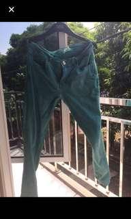celana jeans biru turqoa