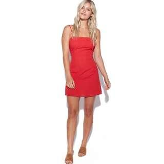 Perfect Strangers - Red Tie Back Linen Dress