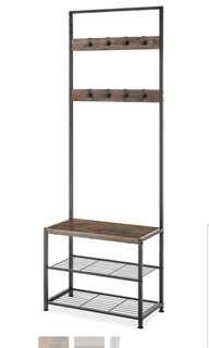 🚚 Whitmor Entryway Entrance Tower Bench with Shoe Shelves Rack Storage Organizer Orangiser Coat Bag Hanger Brown