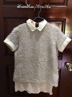🚚 Silver/ white collar top