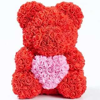 母親節禮物花束 40cm玫瑰花熊仔 求婚 結婚 生日 紀念日 禮物