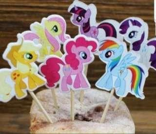 🚚 24pcs my little pony Cake/Cupcake/Muffin Toppers for Party Decoration