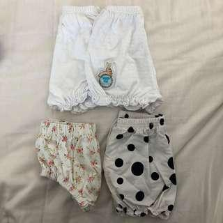 Baby girl rompers,mittens,booties and pants